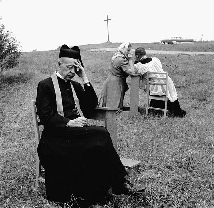 Jesuit Pilgrims at the Martyr's Shrine, near Midland, Ontario, Canada