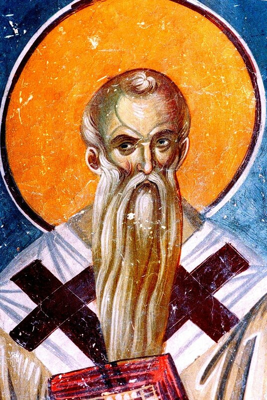 Святой Равноапостольный Климент, Епископ Охридский. Фреска церкви Святых Иоакима и Анны (Королевской церкви) в монастыре Студеница, Сербия. 1314 год.