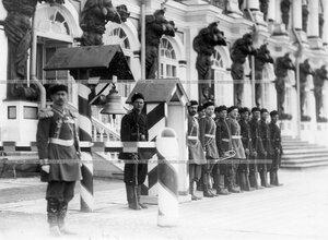 Караул у Екатерининского дворца во время парада лейб-гвардии 4-го Стрелкового императорской фамилии батальона