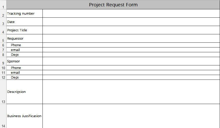 Рис. 2. Форма запроса на выполнение проекта
