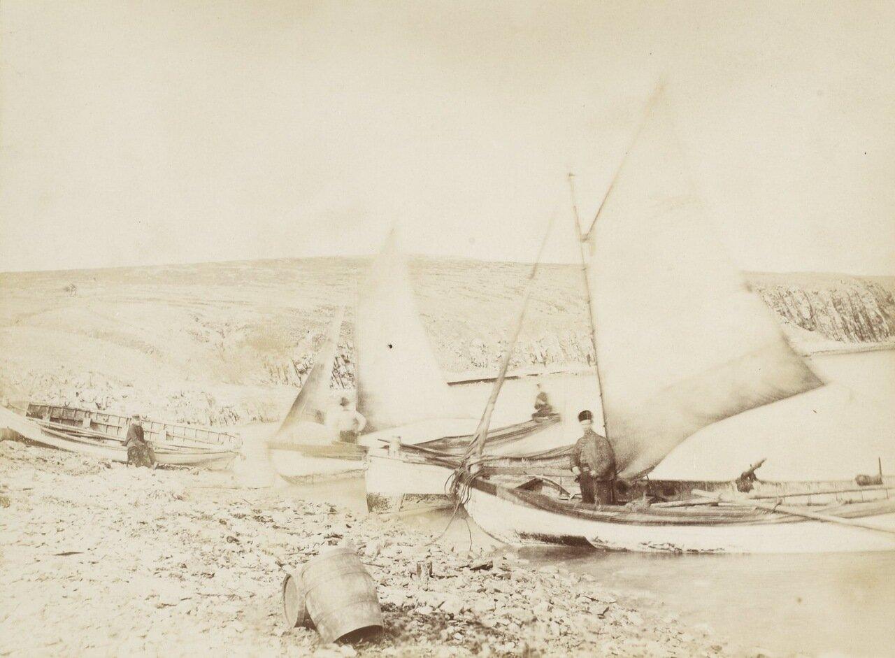 На четырех шлюпках охотятся на моржей люди с «Эйры»