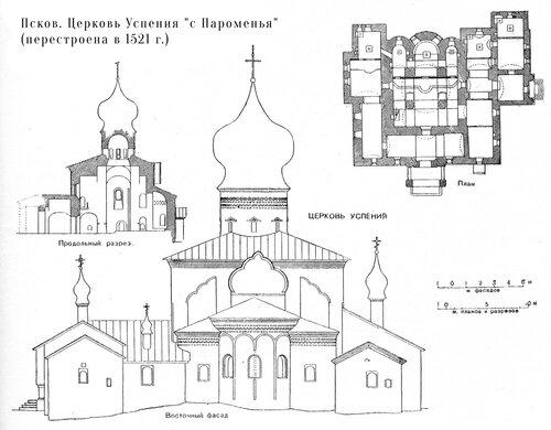 Церковь Успения с Пароменья во Пскове, чертежи