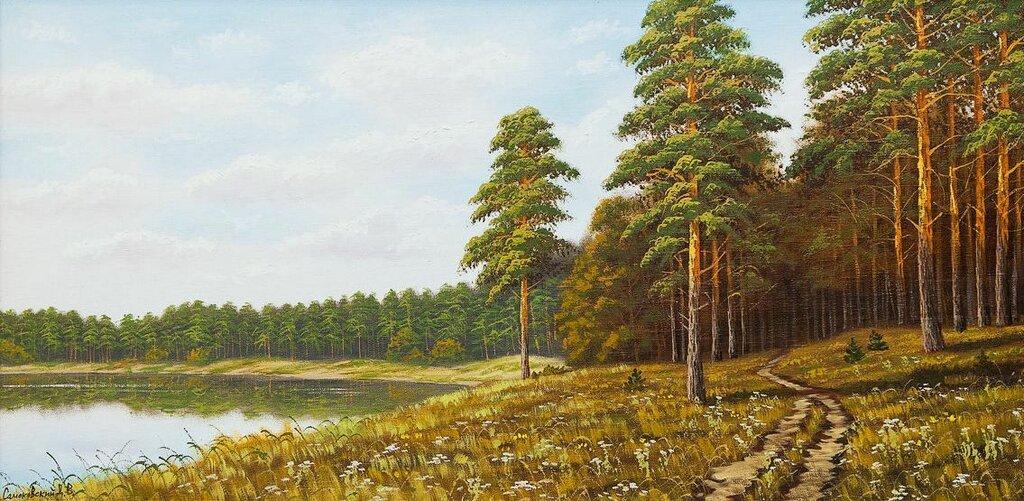 Дмитрий Самоковский. Озеро в сосновом лесу