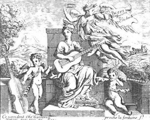 Гравюра с обложки старинного издания Пьес для гитары. 1676