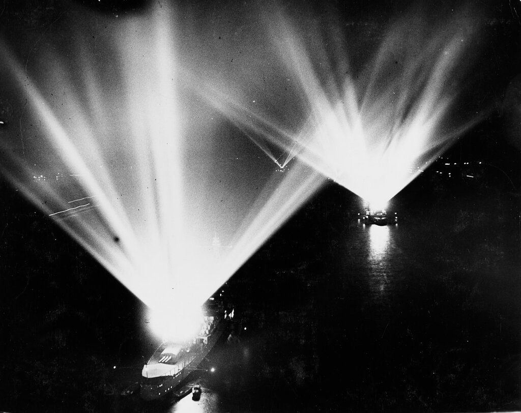 Ships that flare in the light. Four United States battleships in a dazzling display during the fleet review at New York on 31 May 1934