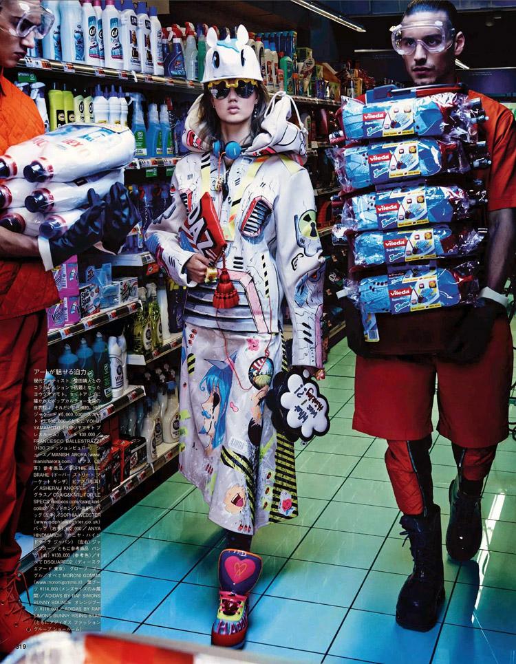 Кэтрин Лоэв (Catherine Loewe), Ханна Габи Одиль  (Hanne Gaby Odiele) и Линдси Виксон (Lindsey Wixson) в октябрьском номере журнала Vogue Japan (14 фото)