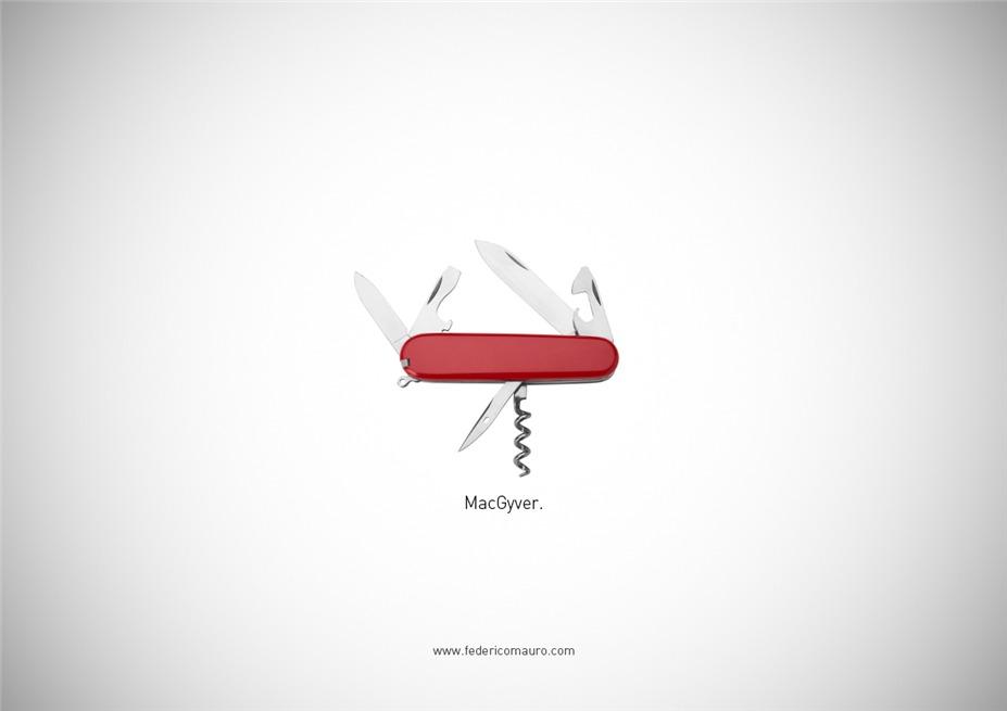 Знаменитые клинки, ножи и тесаки культовых персонажей / Famous Blades by Federico Mauro - MacGyver