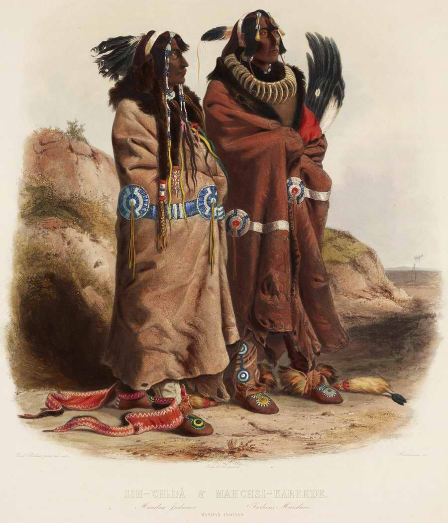 Индейцы из племени манданов - Karl Bodmer