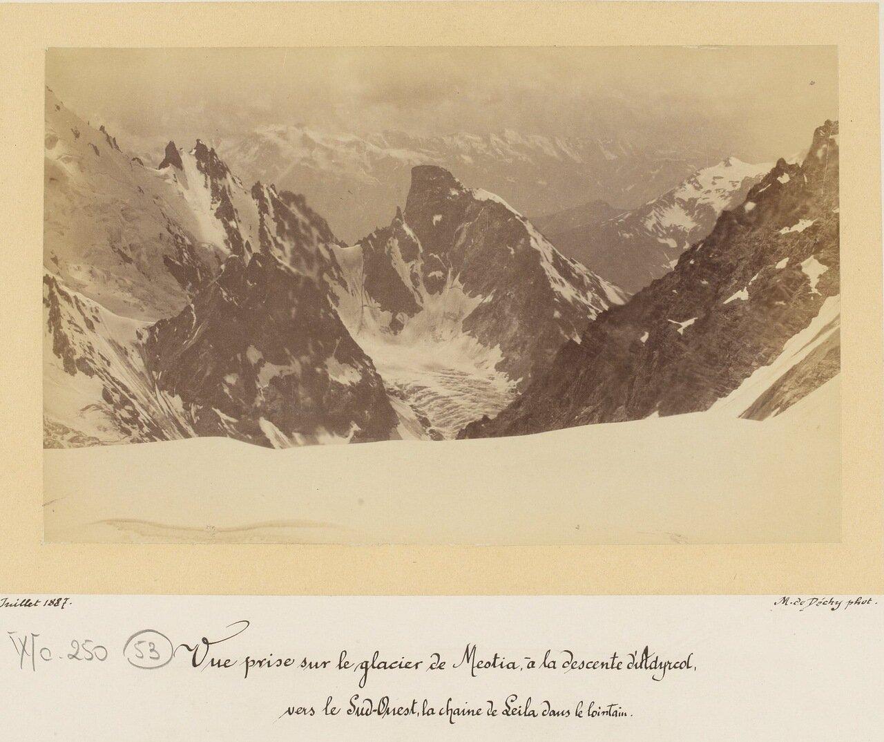 Взгляд на ледник Меотия и по направлению к юго-западу горный хребет Лейла