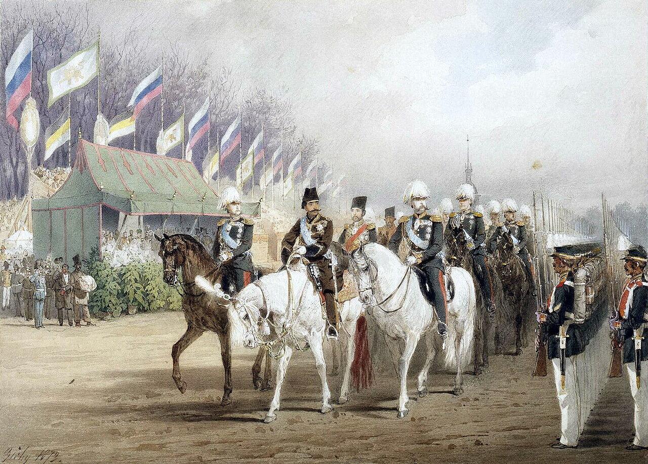 Александр II и Наср-эд-Дин-шах во время парада на Царицыном лугу