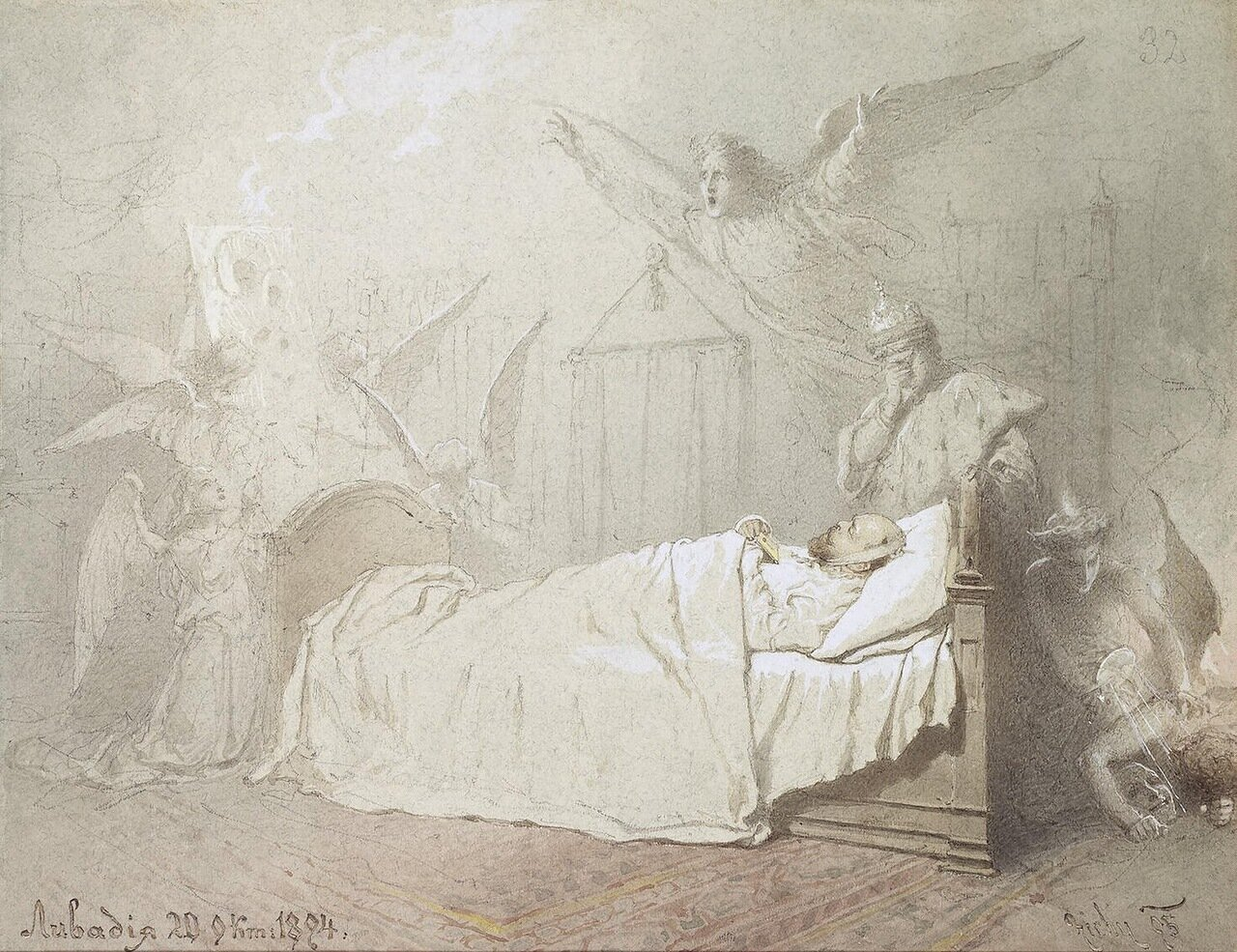 Александр III на смертном одре окруженный ангелами со скорбящим юношей символизирующим династию Романовых.