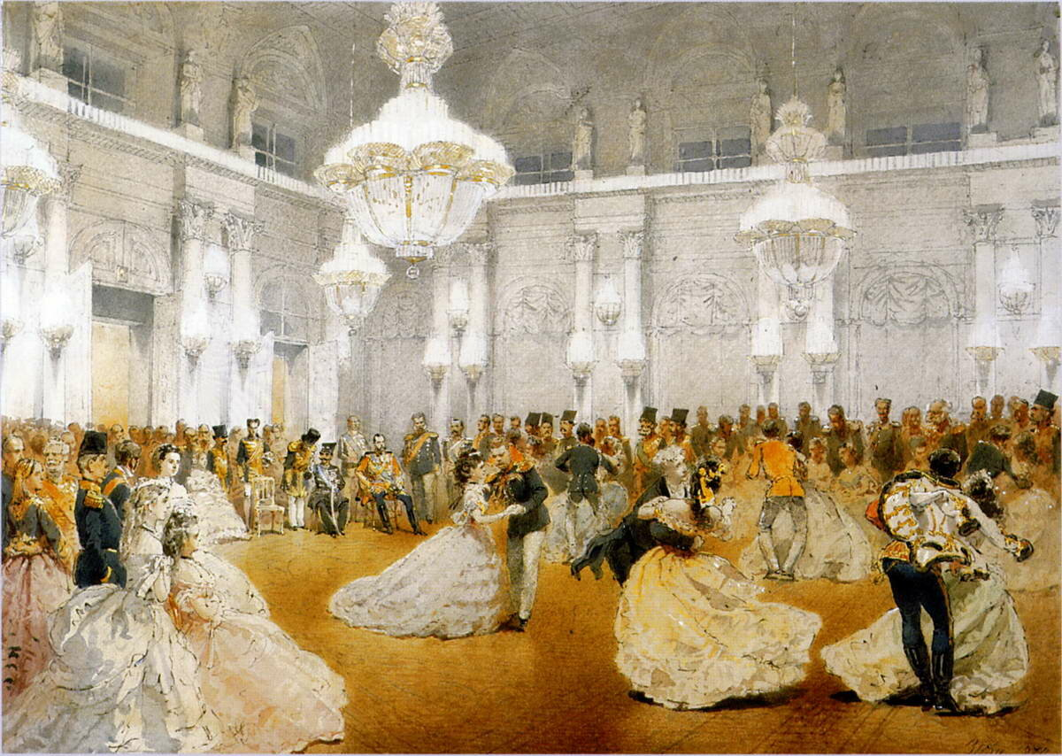 Бал в Концертном зале Зимнего дворца во время официального визита шаха Наср-эд-Дина в мае 1873 года