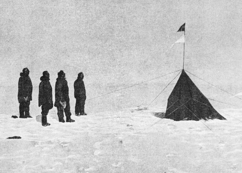 The first men to stand at the the South Pole - Roald Amundsen, Helmer Hanssen, Sverre Hassel and Oscar Wisting at Polheim, the tent they erected at the South Pole on 16 December 1911