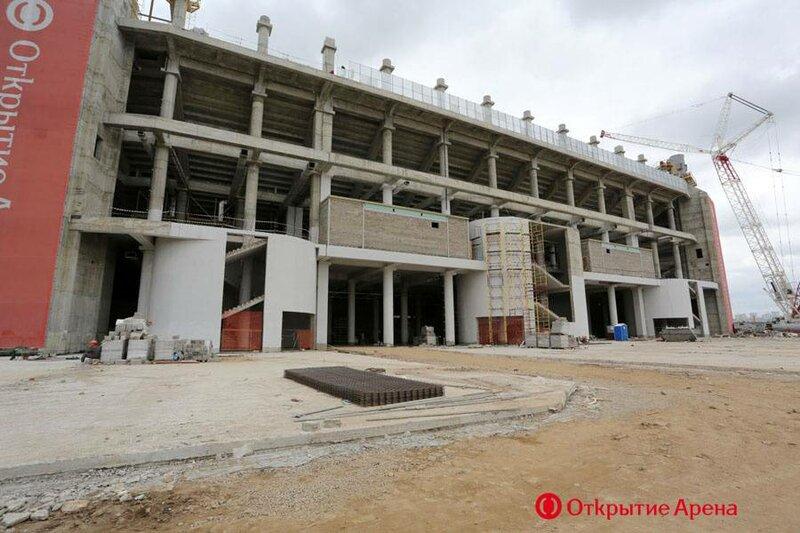 На стадионе «Открытие Арена» завершен монтаж каркасов для точек питания (Фото)