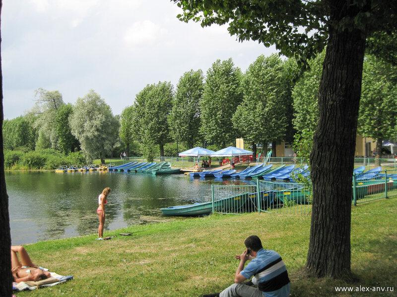 Московский парк Победы. По озёрам парка можно покататься на лодке. Летом в парке много загорающих горожан. Некоторые особо безрассудные ещё и купаются. Разумеется, вода парковых прудов и каналов для купания не пригодна, но когда это останавливало русского человека.