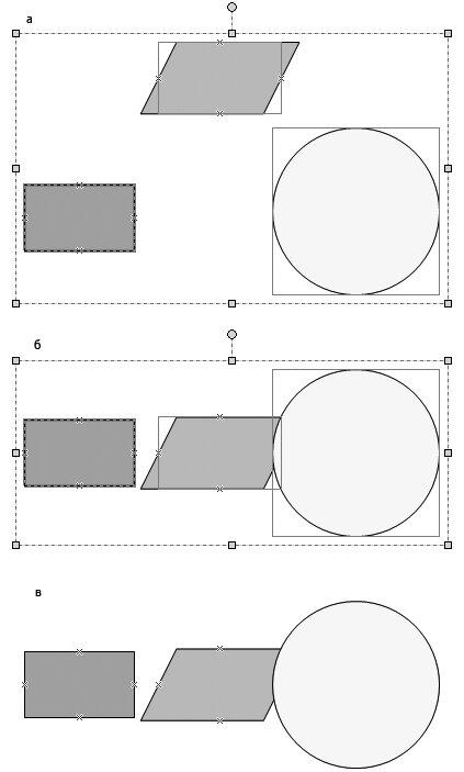 Рис. 4.18. Пример выравнивания набора элементов по вертикали относительно центра: а — исходное положение элементов; б — положение после выравнивания, выделение с элементов не снято; в — положение после снятия выделения с выровненных объектов