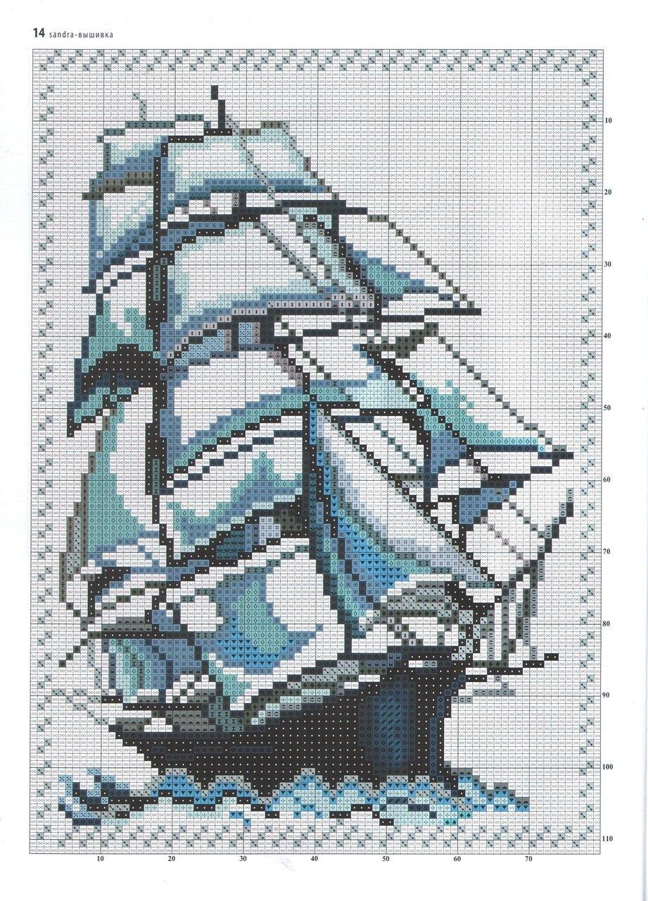 парусник вышивка крестом схема