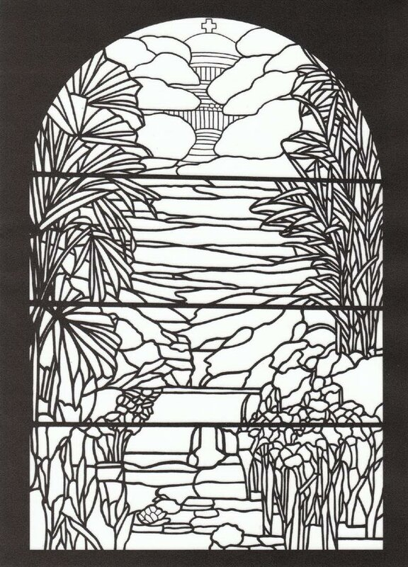 Книга: Tiffany Designs Stained Glass Coloring Book 1991 (витраж ...