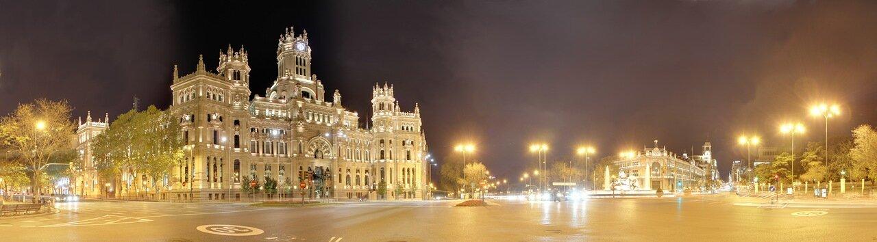 Ночной Мадрид. Площадь Кибелы (Plaza de Cibeles). панорама