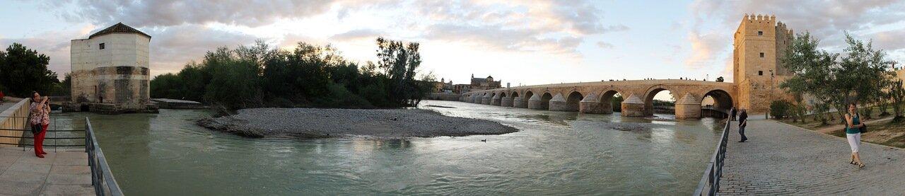Cordoba. Molino de San Antonio, Puente Romano and Torre de la Calahorra. Panorama