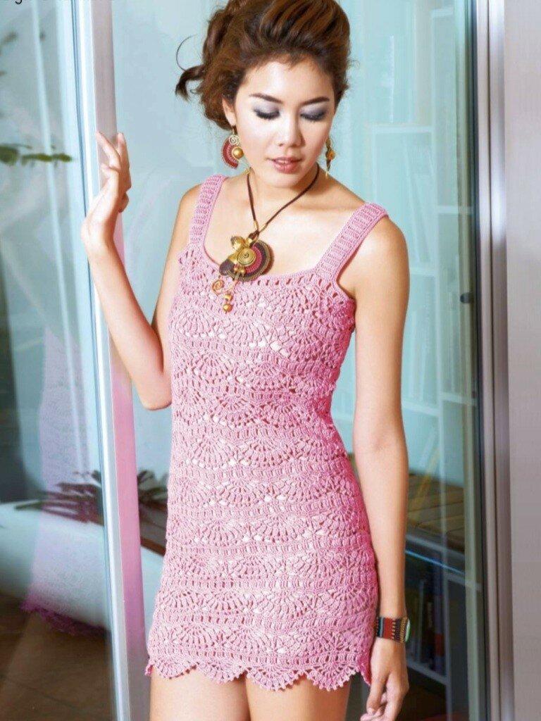 Розовое платье крючком схемы и описание
