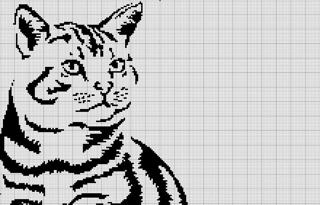 вышивание крестиком черно-белая схема