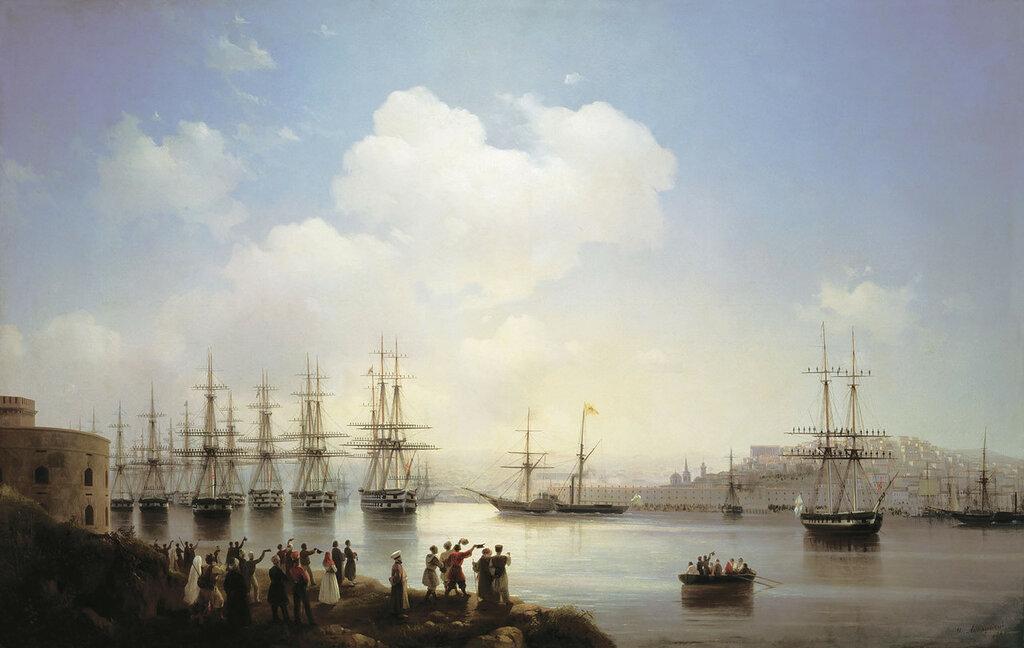 Русская эскадра на Севастопольском рейде. 1846. Холст, масло.jpg