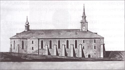 Фасад Харалампиева монастыря со стороны Зверинца с церковью. Проект А.Захарова. 1800 г. ГМЗ«Гатчина»