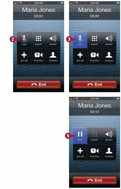 Когда вы будете готовы вновь вернуться к телефонному разговору, нажмите кнопку еще раз
