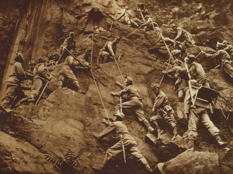 Austrian mountain troops scaling a rock face on the Italian front, presumably, during World War 1.