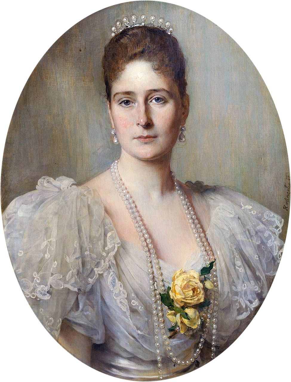 Empress Alexandra Feodorovna of Russia, née Princess Alix of Hesse and by Rhine. The portrait was painted for Queen Victoria of the United Kingdom. Owned by The Royal Collection.