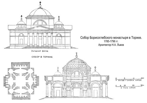 Собор Борисоглебского монастыря в Торжке, чертежи