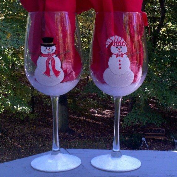 украшение бокалов к новому году