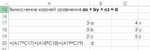 Рис. 1.8. Рабочий лист для вычисления корней алгебраического уравнения