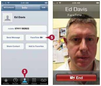 Выберите контакт, с которым хотите соединиться через FaceTime. Откроются данные контакта.