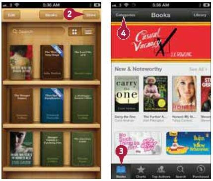 Откроется экран «Книги» (Books), на котором показаны фрагменты нескольких списков книг