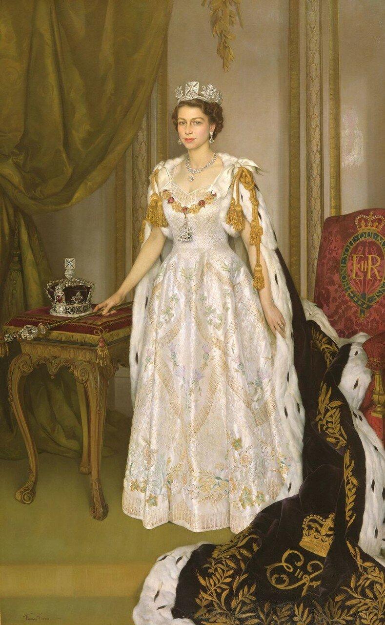 Sir Herbert James Gunn (1893-1964)Queen Elizabeth II in Coronation Robes  1953-54