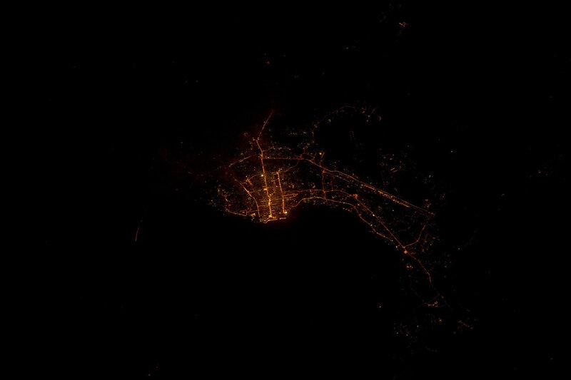 Хабаровск ночью из космоса