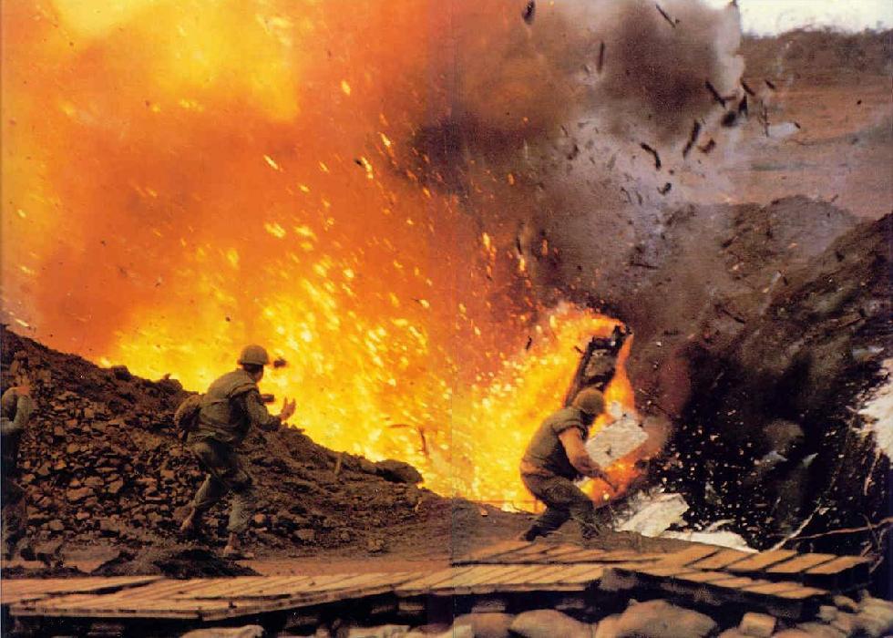 US ammo dump exploding, Khe Sanh, Vietnam, 1968