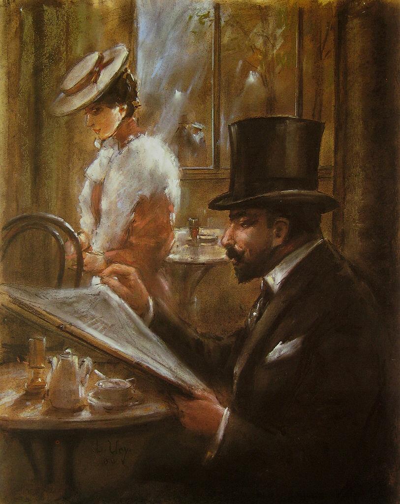 "В кафе ""Бауэр"", 1898, Ури Лессер (1861-1931) from: Berlin painting in the 19th Century. Siedller Publisher"