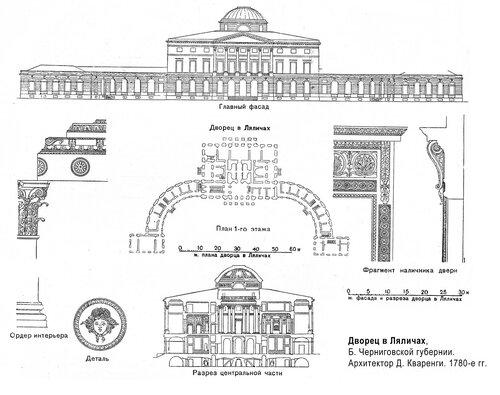 Дворец в Ляличах, чертежи