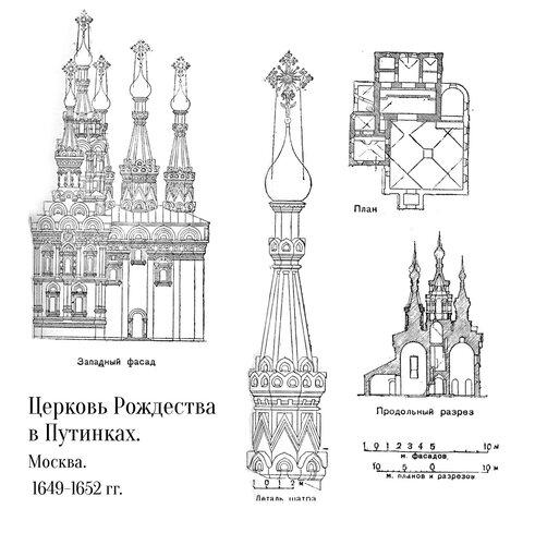 Церковь Рождества в Путниках в Москве, чертежи