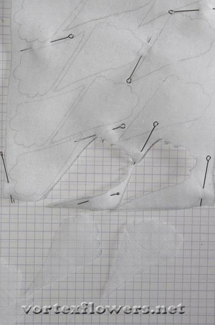 Пион из ткани. Выкройка (схема) пиона из ткани.