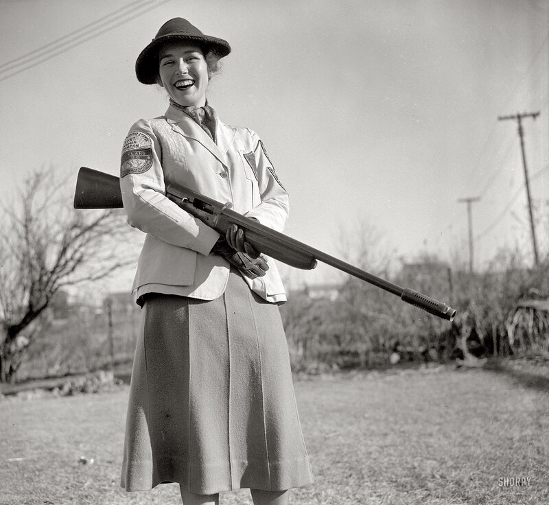 January 5, 1938. Westmoreland Hills, Maryland. Mrs. Albert F. Walker of this town has been declared 1937 women's skeet shooting champion of the country by the National Skeet Shooting Association