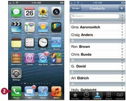 Открытие приложения «Телефон»