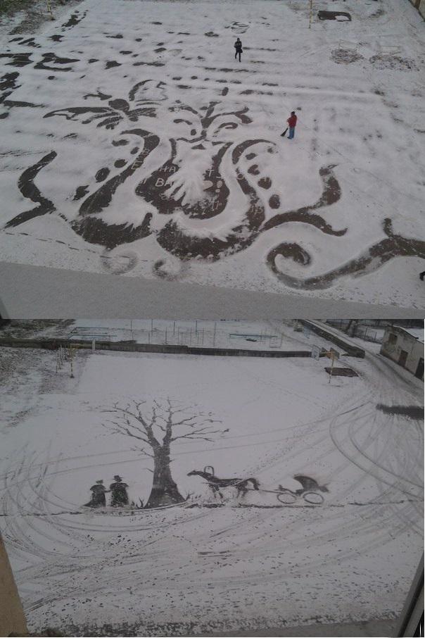 Каждый раз,когда выпадает снег,наш школьный завхоз творит чудеса!