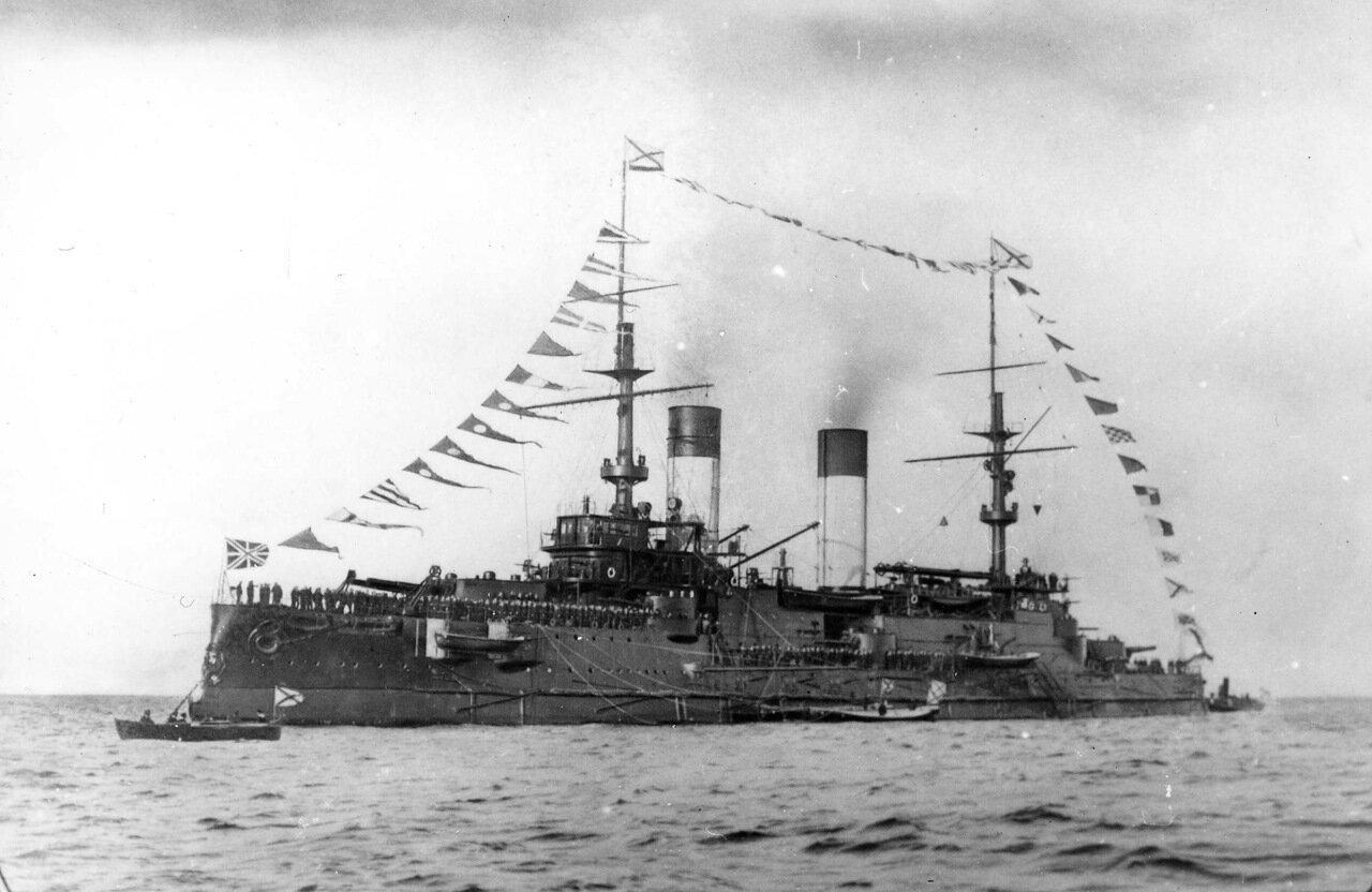 09. «Князь Суворов» во время императорского смотра, Ревельский рейд, 26 сентября 1904 года