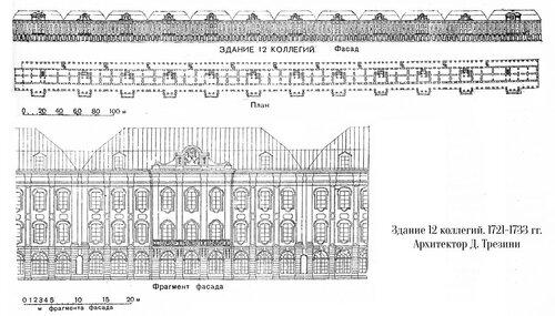 Здание Двенадцати коллегий в Санкт-Петербурге. Архитектор Трезини, чертежи
