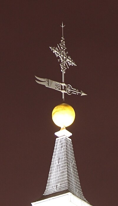 Night Madrid. Weather vane towers of the Cathedral Catedral de Almudena