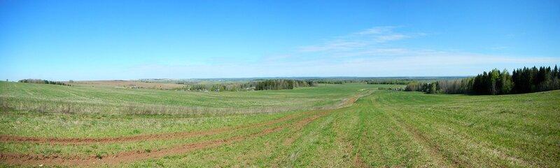 Панорама со склона горы Мамонихи под Чепецком. Вид в сторону Бяково
